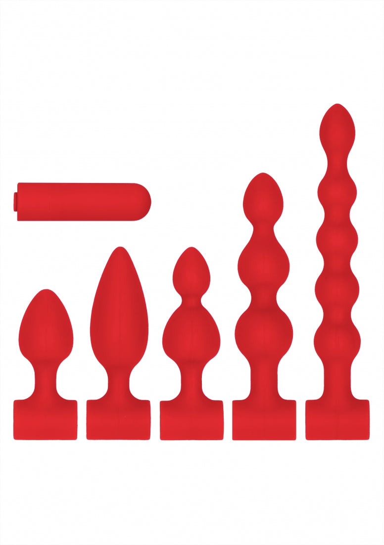 Silicone USB-Rechargeable Anal Set - Red
