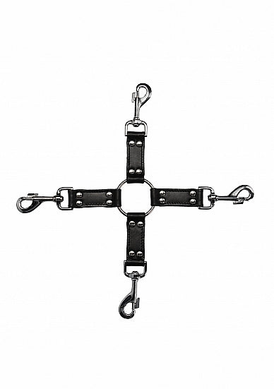4-way Leather Hogtie Cross - Black