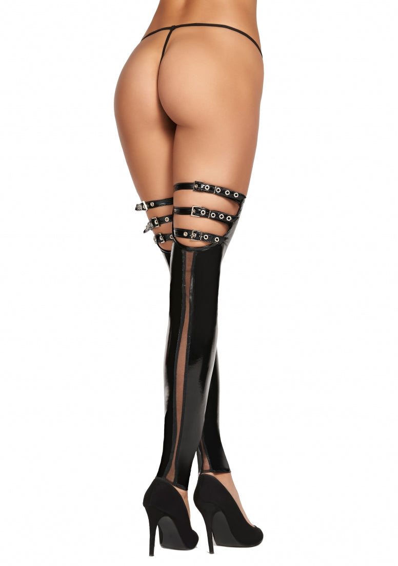 PETARE Vinyl Strap Stockings - Black
