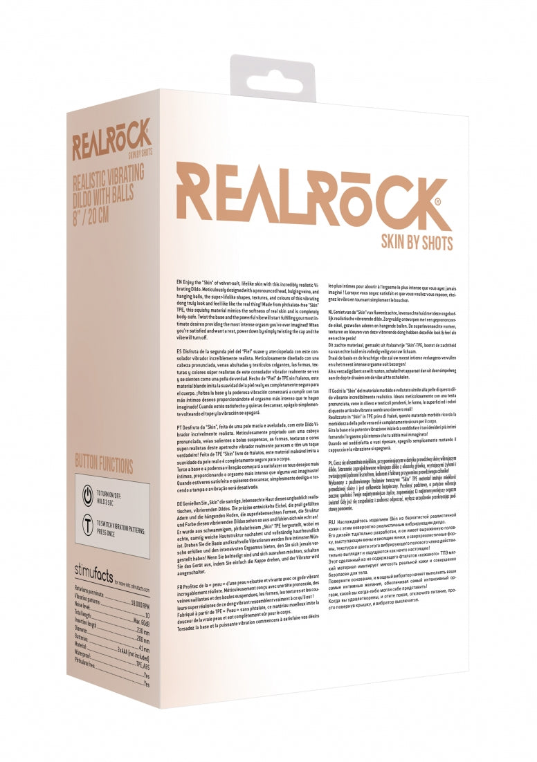 Realrock 8-20 cm  Vibrating Dildo With Balls - Flesh