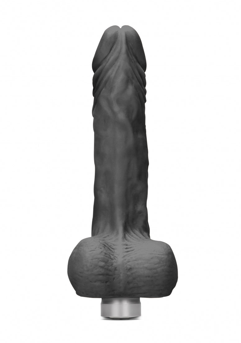 Realrock 9-23 cm  Vibrating Dildo With Balls - Black