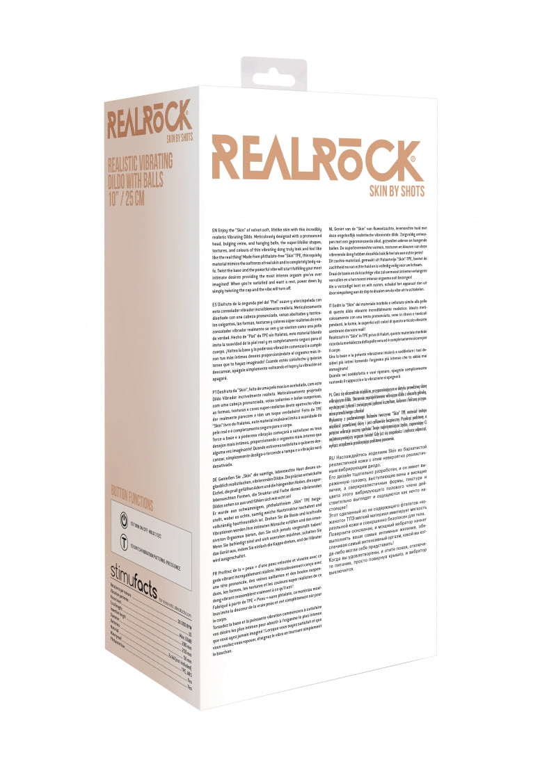 Realrock 10-25 cm  Vibrating Dildo With Balls - Flesh