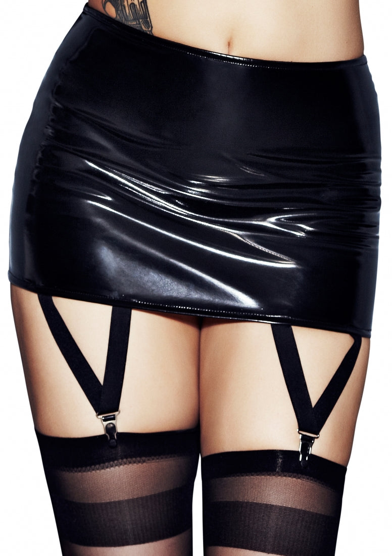 REVOLVER Wetlook Zipper Garterbelt Stocking Set - Black