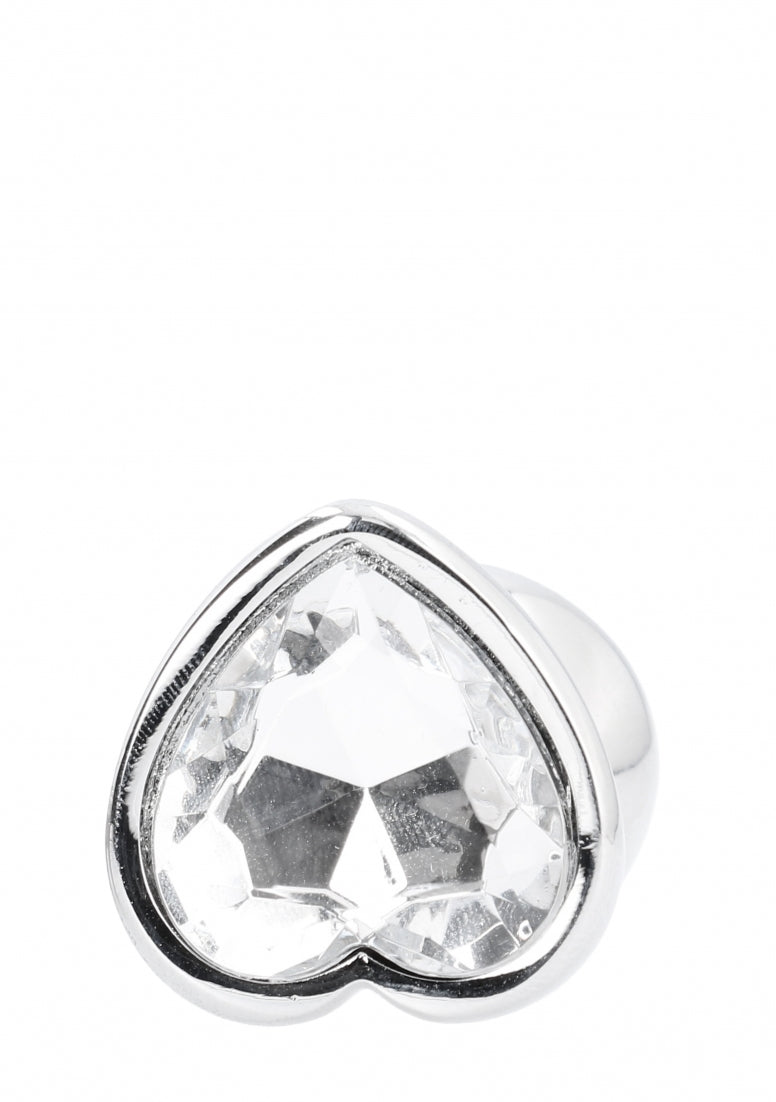 Love Heart Diamond Plug - 3.75 Inch - Zilver