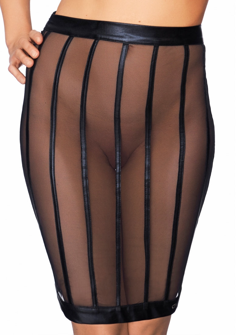 SOCORRO Wetlook and Mesh Striped Pencil Skirt - Black