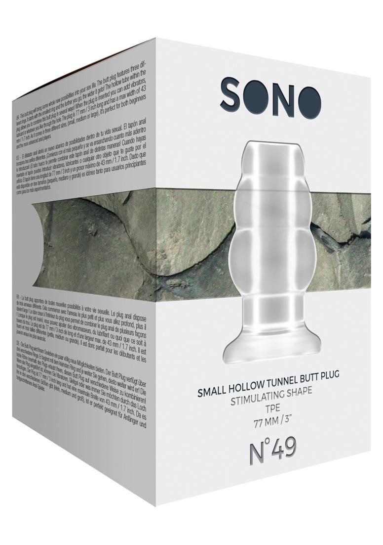 Sono No.49 - Kleine holle Tunnel Butt Plug - 3 Inch - Transparant