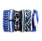 Blue Black White Leather Wristband - rulesfitness