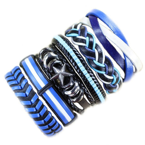 Blue Black White Leather Wristband