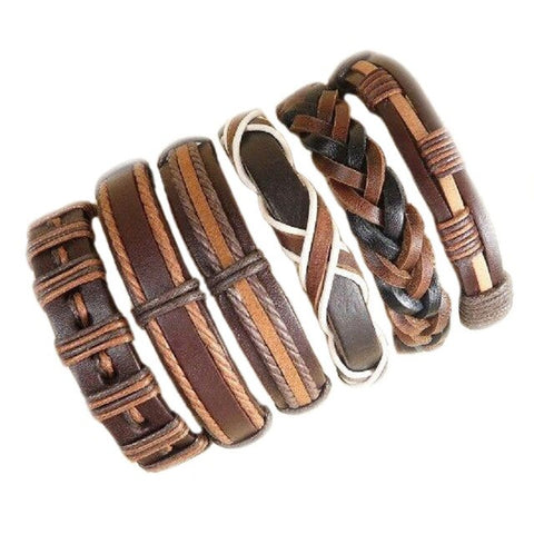 6Pcs. Brown And White Bracelet