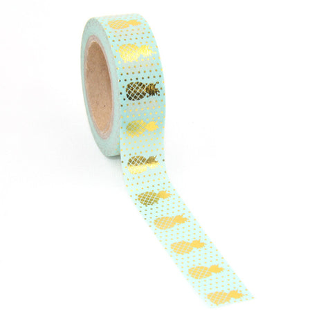 Gold, Pineapple Masking Tape Lot 15mm*10m