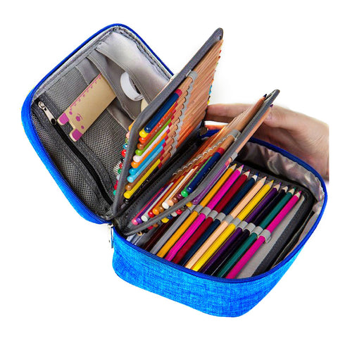 Mini Canvas School Pencil Cases Large Capacity 72 Holes Pen Box