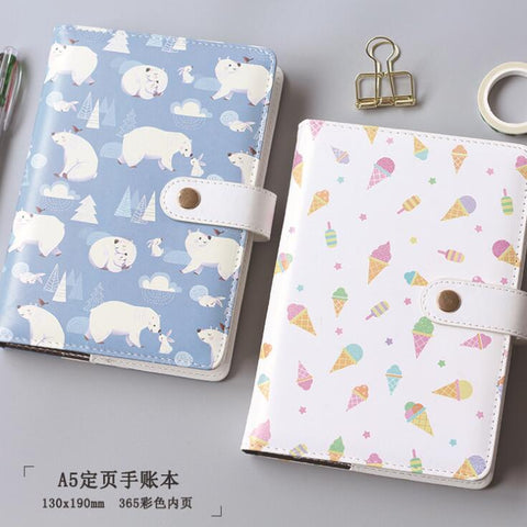 A5 Colorful Polar Bear Ice Cream Hardcover Notebook Diary