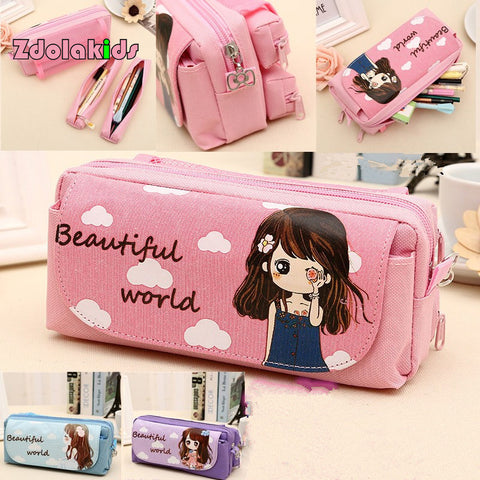 New Cute Beautiful World  Canvas Pencil Case