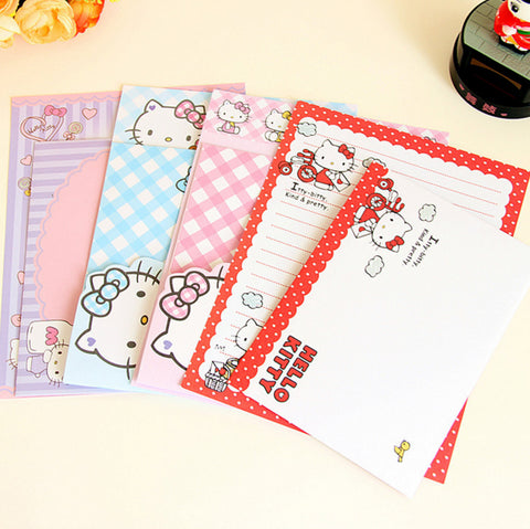 4Pcs/set Kawaii Cartoon Hello Kitty Kraft Letter Paper with Envelope Letter