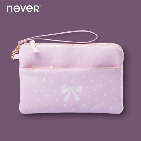 Never Zipper Pencil Bag Pink Kawaii Leather