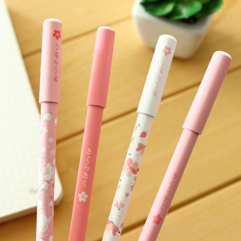 2 Pcs/lot Lovely Pink Cherry Sakura Gel Pen Plastic 0.5mm