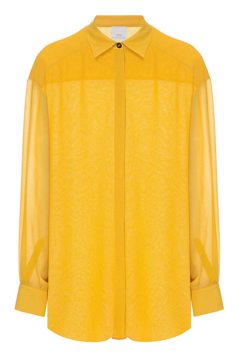 Translucent silk yellow shirt