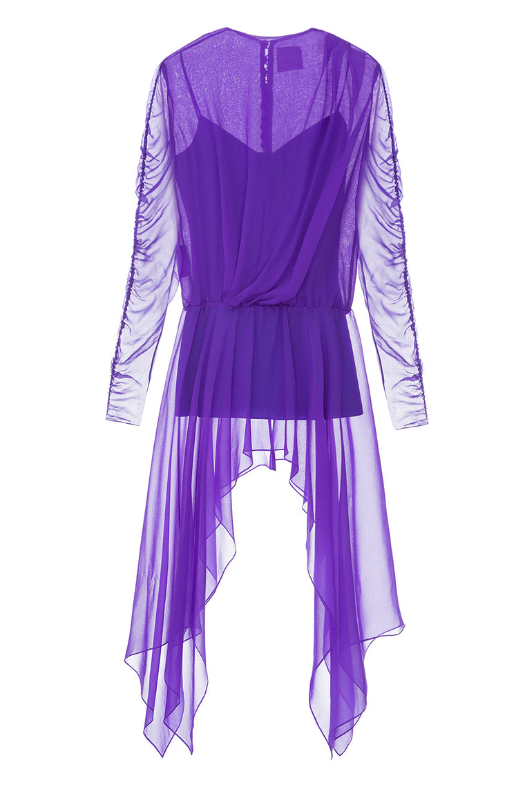 Ultra violet blouse with ruffled sleeves