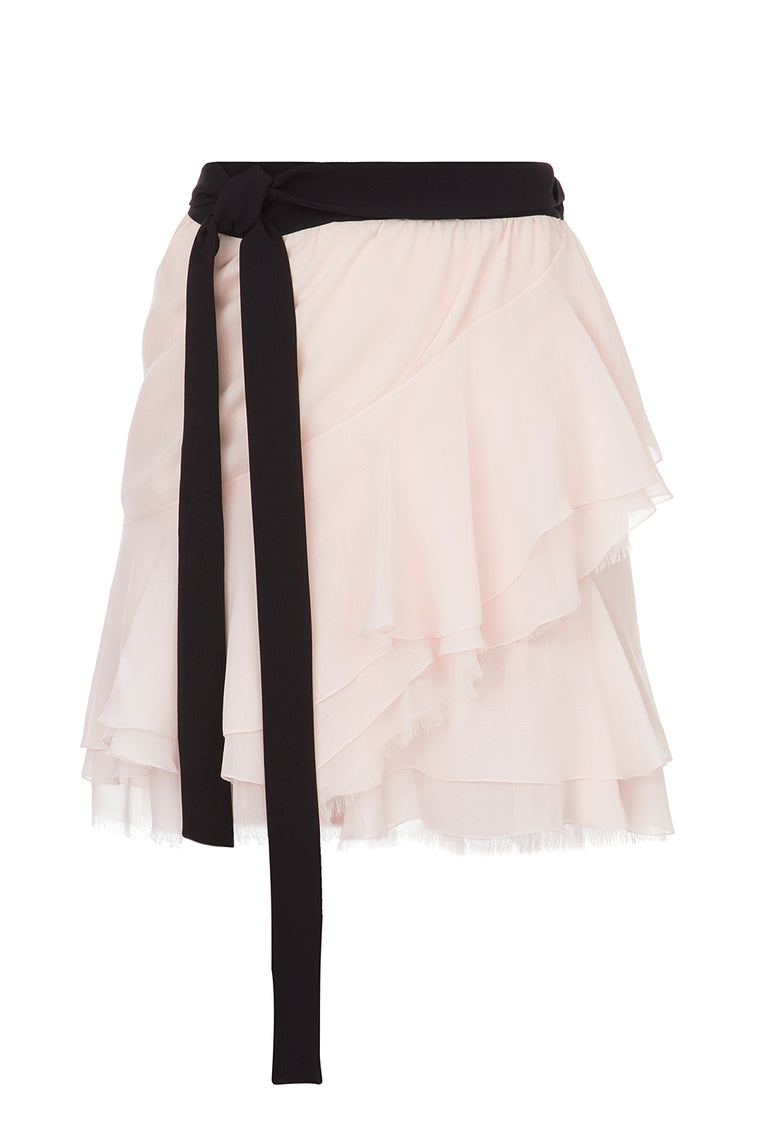Wrap chiffon mini skirt