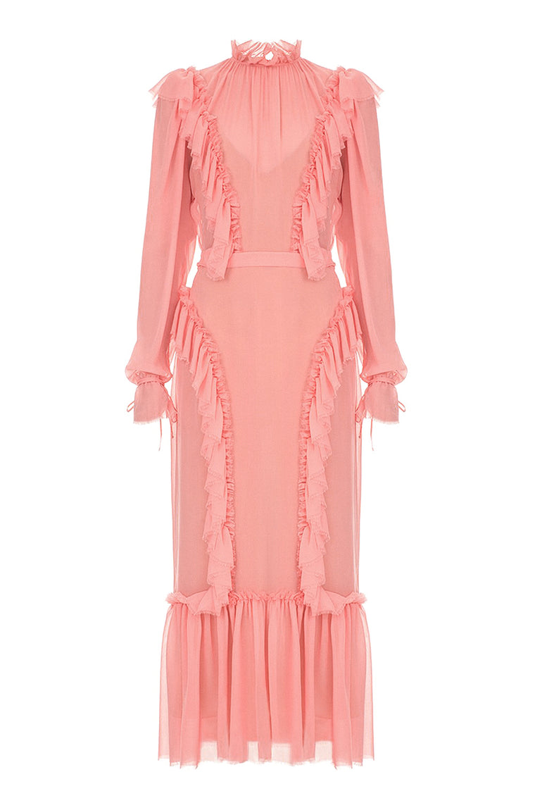 Chiffon ruffle midi dress