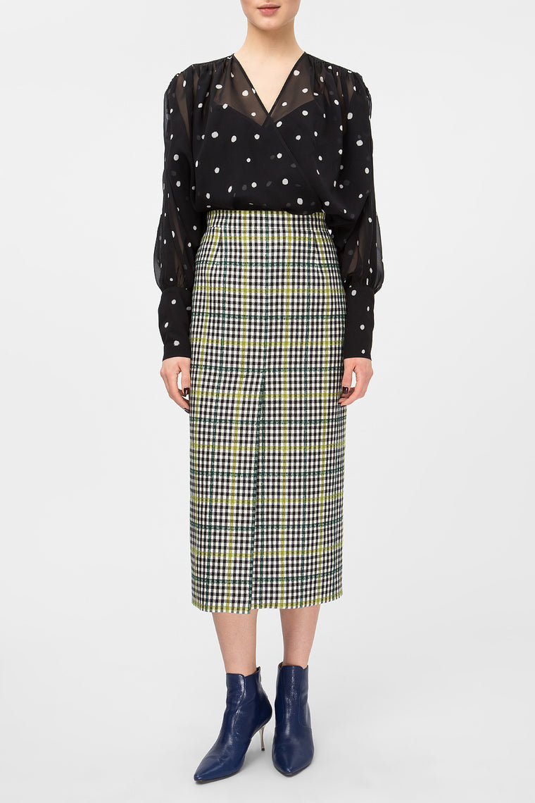 Plaid woolen midi skirt