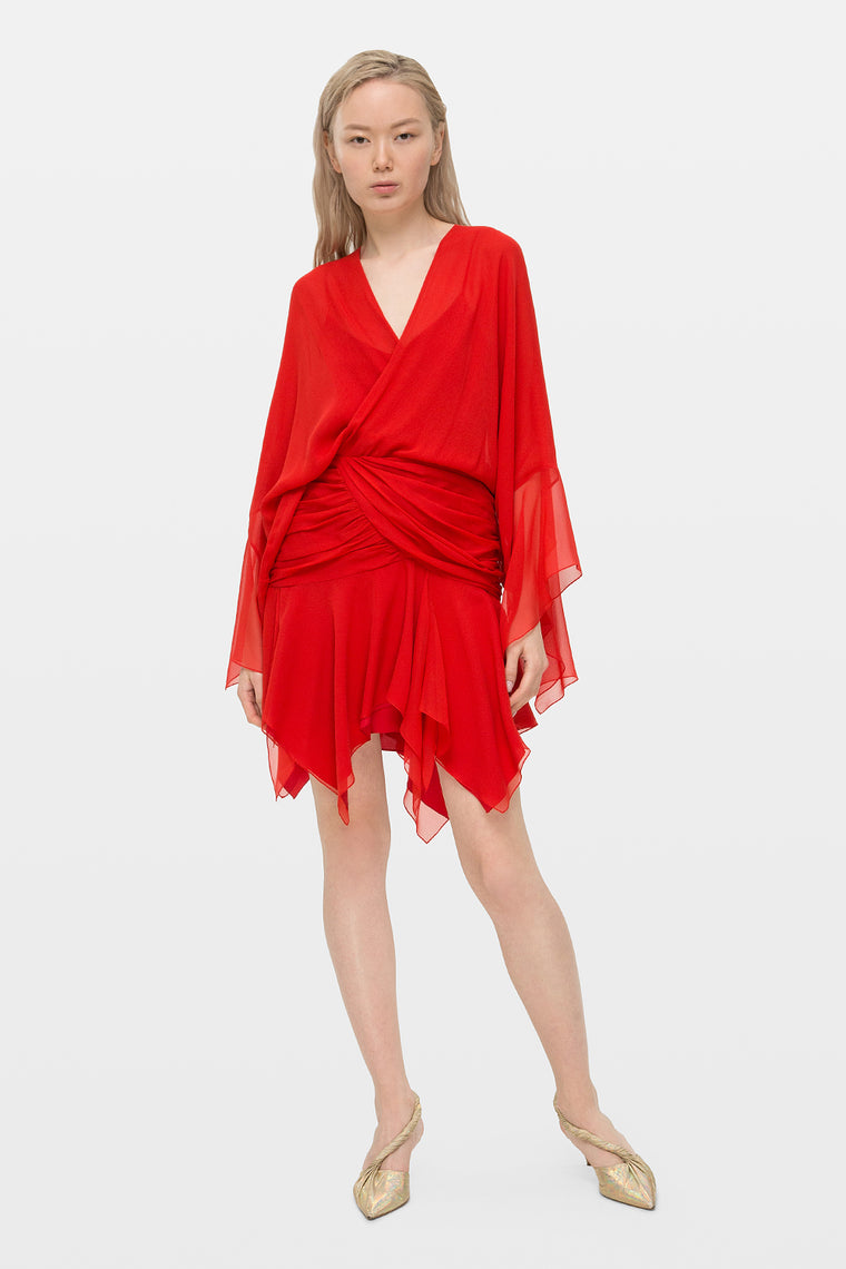 Chiffon wrap mini dress