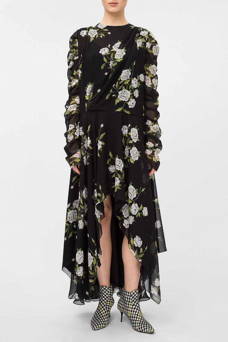 Floral-print asymmetric dress