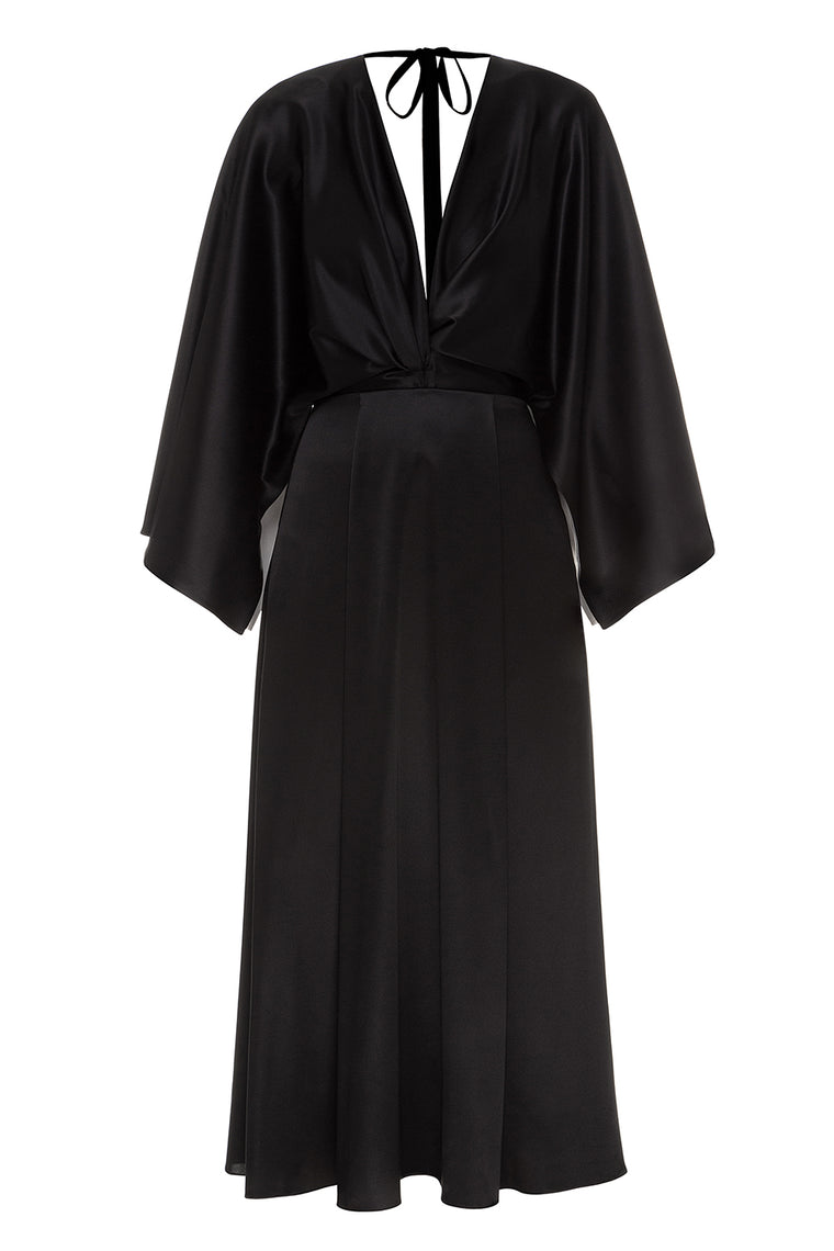 Silk dress with flared sleeves