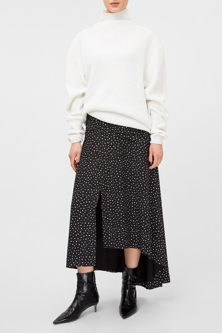 Polka-dot midi skirt