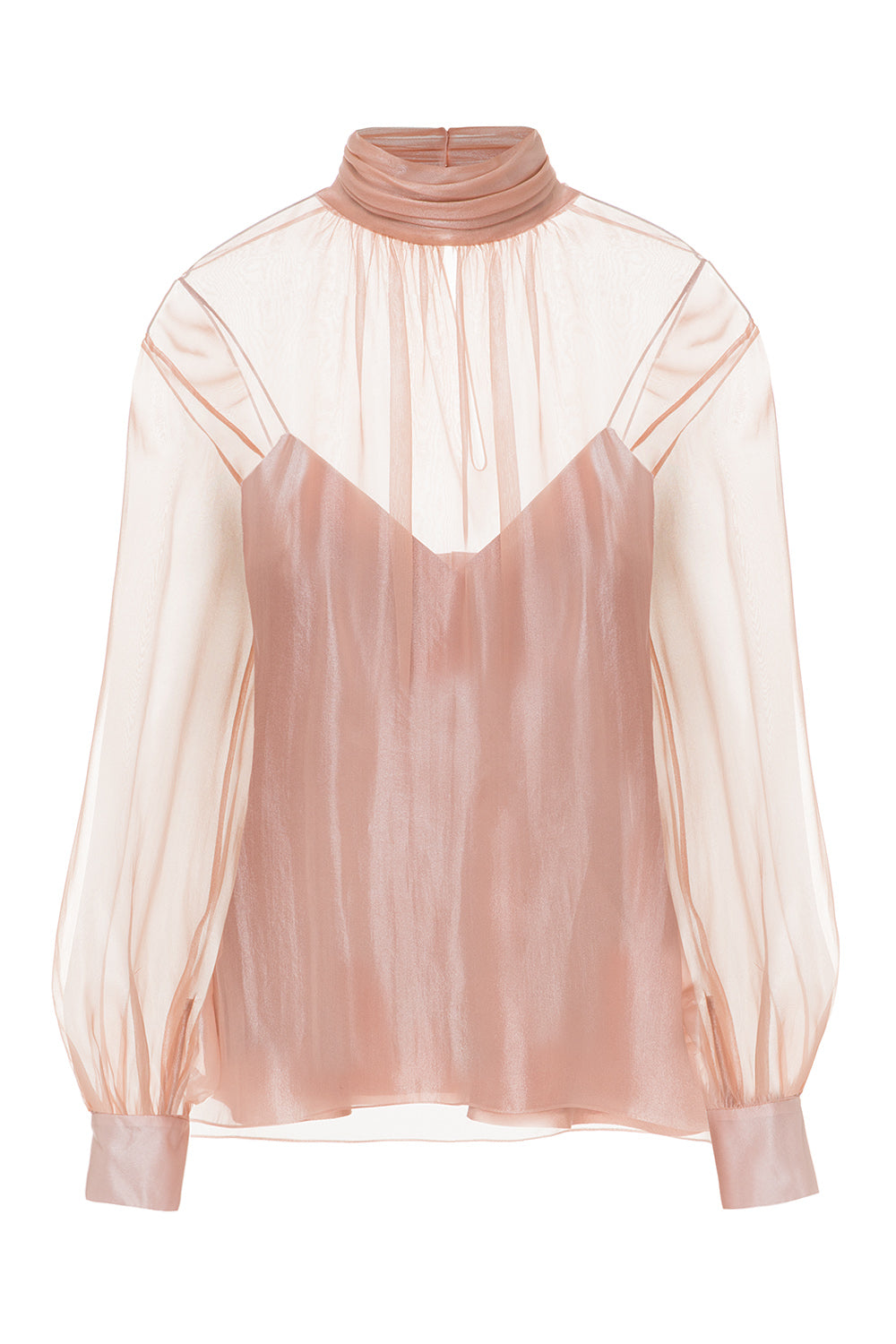 Translucent pink blouse