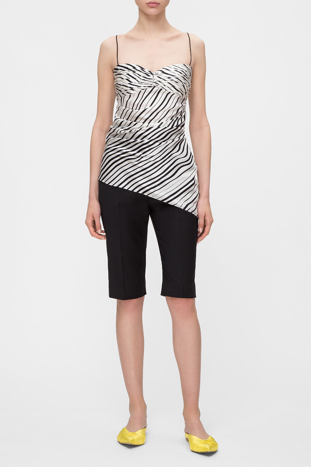 Silk striped asymmetric top