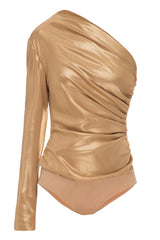 Gold silk bodysuit