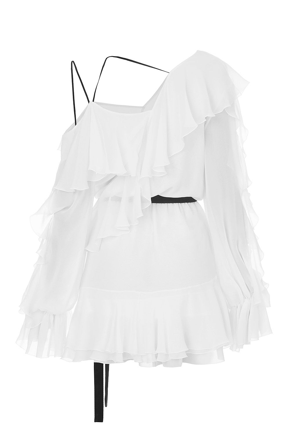 Chiffon ruffle mini dress