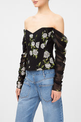Floral-print bustier top