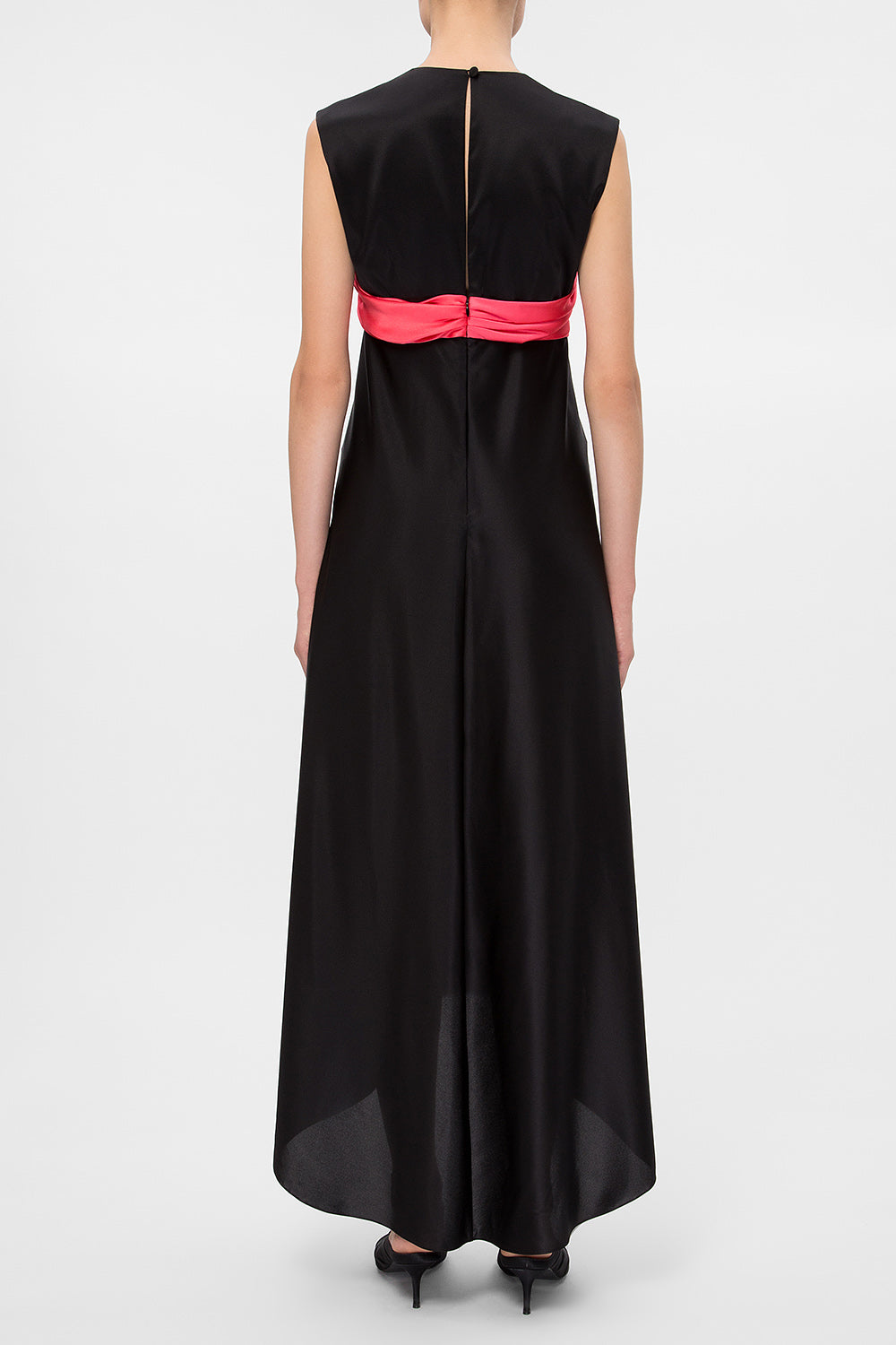 Silk dress with contrast bodice