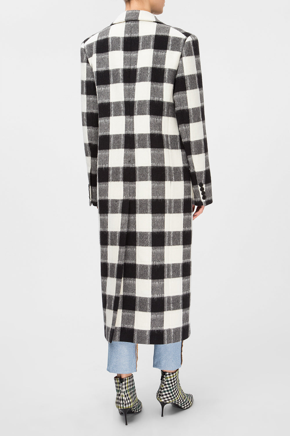 Woolen plaid coat