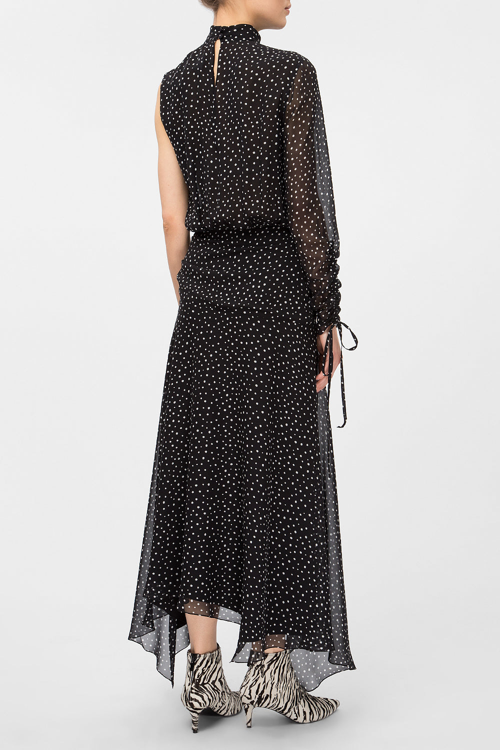 Polka-dot midi dress with one sleeve
