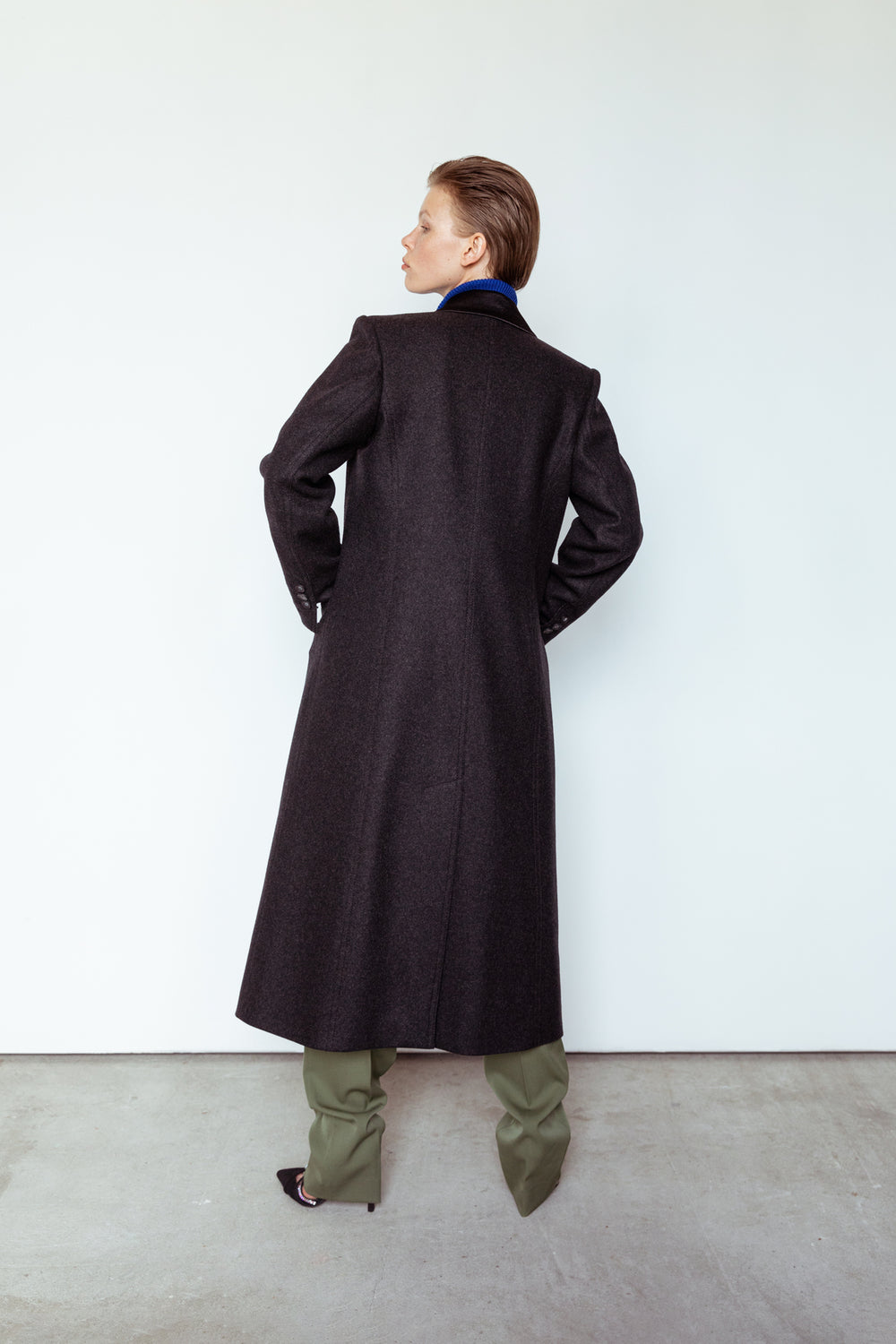 Wool single breasted coat