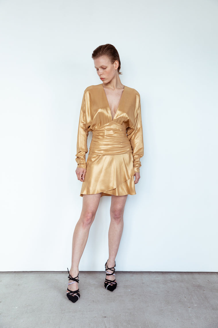 Gold silk dress