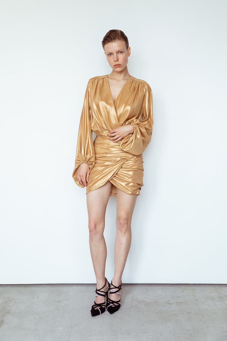 Gold silk wrap dress