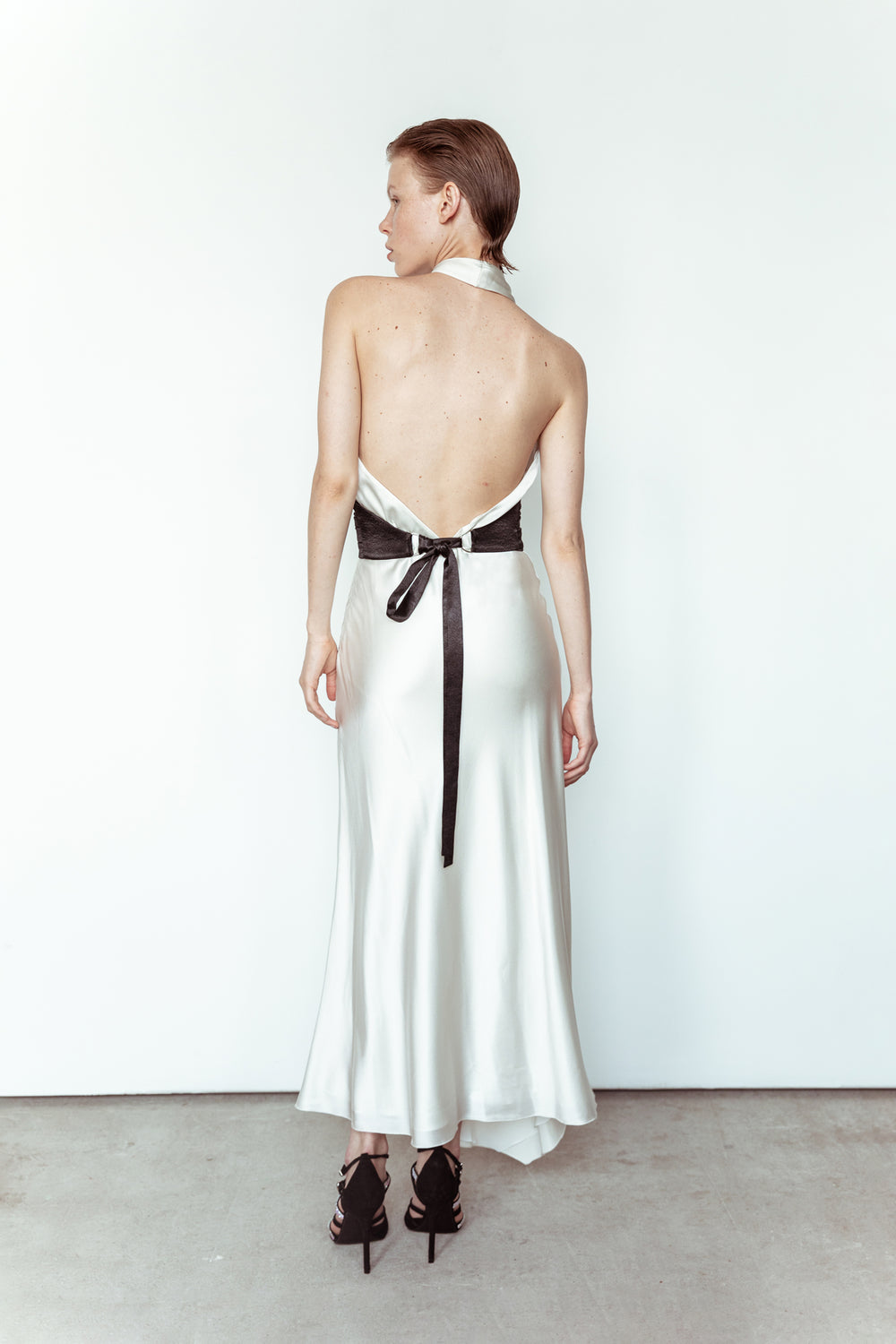 Silk dress with open back