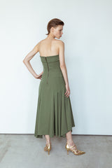 Bustier dress with folds