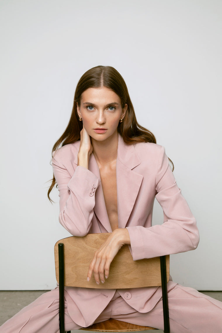 Pink powder suit with jacket