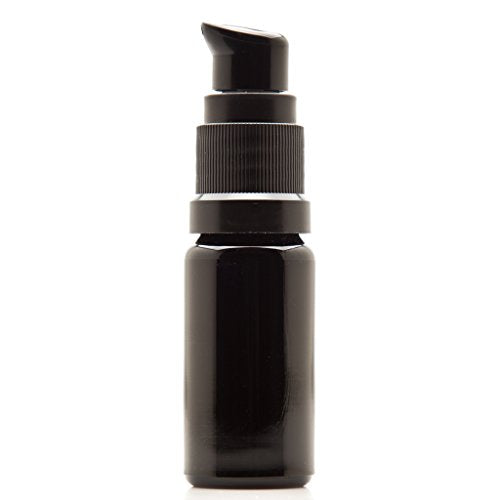 Infinity Jars 5 Ml (.17 fl oz) Black Ultraviolet Glass Push Pump Bottle