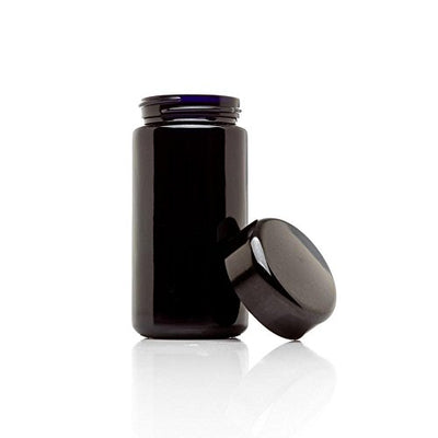 Ultraviolet 200 ml (6.7 fl ounce) Premium Herb Container by TC Traders | Airtight Smell Proof Black Ultraviolet Glass Screw Top Jar Canister | Best for Coffee, Tea, Herbs, Spices, or Dried Goods