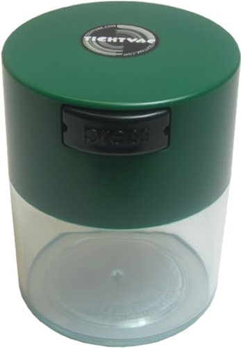 Tightvac 3-Ounce Vacuum Sealed Dry Goods Storage Container, Black Body/Forest Green Cap