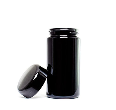ultravioLeaf 100 ml (3.3 fl oz) Premium Tall Black Ultraviolet Refillable Glass Screw Top Smell Proof Jar for Herbs, Spices, Medicines Discreet Storage Container