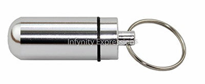 Aluminum Pill Case Waterproof Container Key Chain - Medicine/ Herb/ Emergency EDC Key Ring