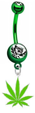 Marijuana Pot Leaf Lime Green Metal Charm on Premium GREEN Titanium Anodized Sexy Cute Belly Button Navel Ring