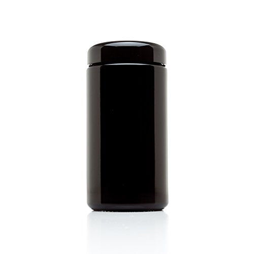 Infinity Jars 500 ml (17 fl oz) Tall Large Black Ultraviolet Glass Wide Mouth Screw Top Jar